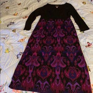 Bob Mackie Maxi Dress Black Purple Print NWOT